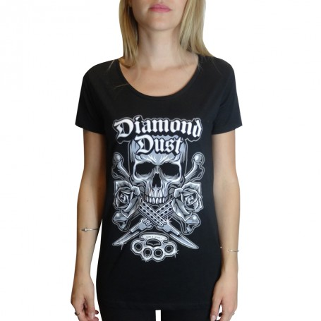T-Shirt Diamond Dust Kniff Girl Noir Manche